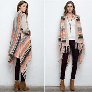 NEW Open Front Fringe Striped Waterfall Cardigan